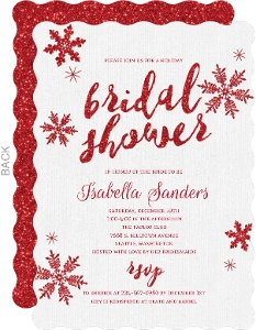 Red Glitter Snowflake Bridal Shower Invitation