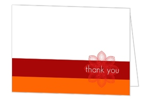 Orange And Red Rangoli Patterned Wedding Thank You Card