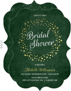 Gold Foil Wreath Bridal Shower Invitation