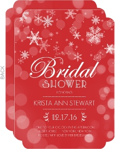 Winter Red and White Snowflakes Bridal Shower Invitation
