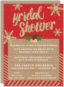 Glittery Snowflakes Bridal Shower Invitation