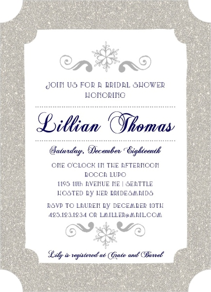 navy and silver snowflake bridal shower invitation