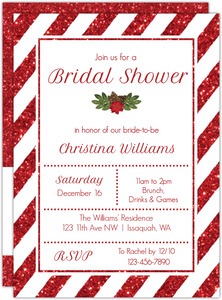 Striped Red Glitter Bridal Shower Invitation