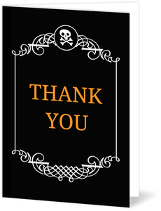 Black and White Filigree Border Halloween  Wedding Thank You Card