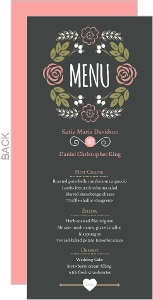 Floral Garden Monogram Wedding Menu Card