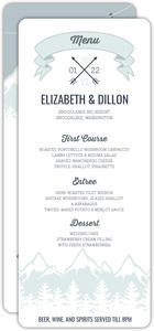 Whimsical Winter Mountains Wedding Menu Card