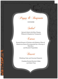 Regal Pumpkin Halloween  Wedding Menu Card