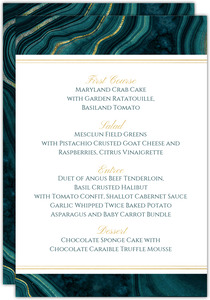 Turquoise & Faux Foil Geode Wedding Menu Card