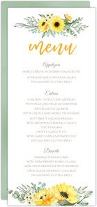 Sunflower Wedding Menu Card