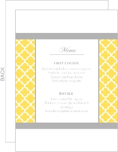 Yellow And Gray Pattern Wedding Menu Card