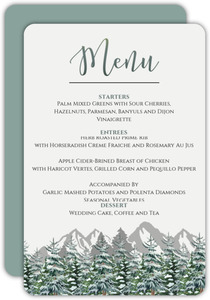 Snow Fir Trees Wedding Menu Card