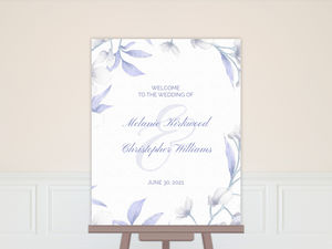 White Lilies Purple Leaves Wedding Welcome Poster
