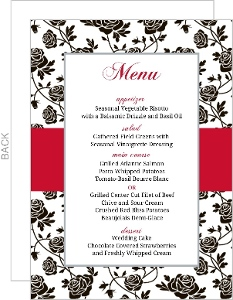 Romantic Roses Black And Red Menu Card