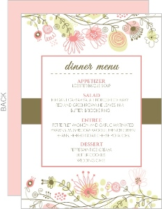 Spring Floral Border Wedding Menu Cards