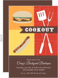 Red Orange And Yellow Blocks Bbq Invitation