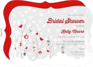 winter snow and birds bridal shower invitation