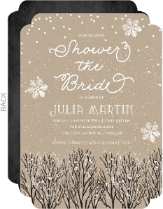 Rustic Kraft Winter Bridal Shower Invitation