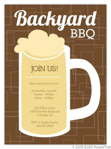brown beers cheers backyard bbq invitation bbq invitations
