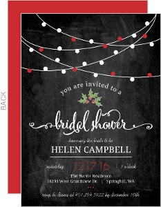 red holiday lights chalkboard bridal shower invitation