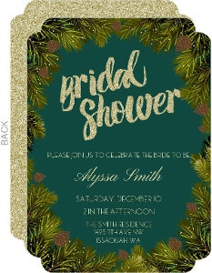 Pine Branches Gold Glitter Bridal Shower Invitation