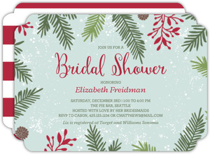 Festive Pine Needle Frame Christmas Bridal Shower Invitation
