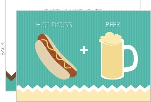 Beer And Hotdogs Turquoise Bbq Invitation