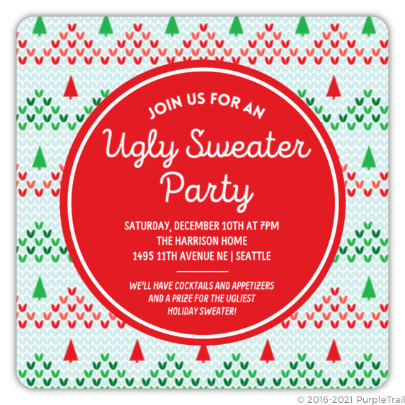 Knitted Christmas Tree Ugly Sweater Party Invitation Ugly