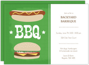 Green Outdoor Cookout Barbeque Party Invitation