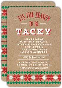 Kraft Snowflake Pattern Ugly Sweater Party Invitation