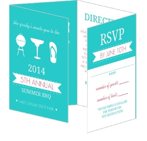 Turquoise And Pink Bbq Party Invitation