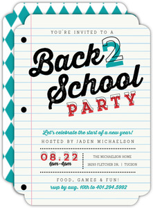 School Paper Party Back to School Invitation
