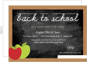 Chalkboard With Apple Chalk Back To School Party Invitaiton