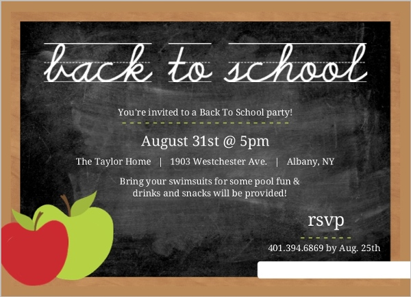 Chalkboard With Apple Chalk Back To School Party