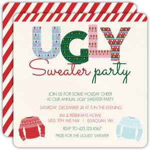 Ugly Pattern Striped Tape Ugly Sweater Party Invitation