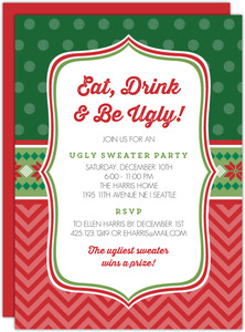Mixed Patterns Ugly Sweater Party Invitation