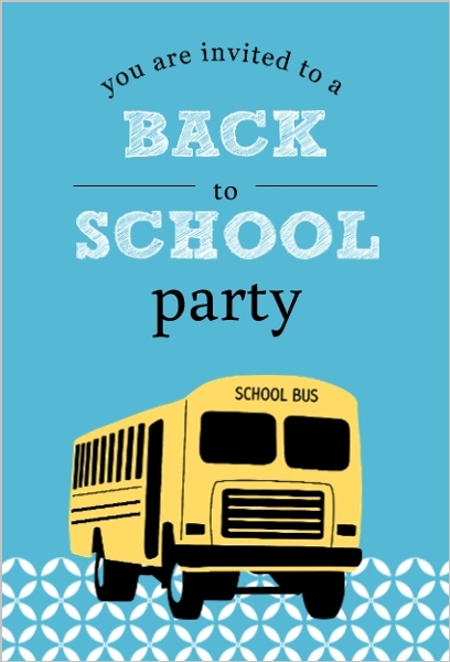 Blue patterned school bus back to school party invitation back blue patterned school bus back to school party invitation stopboris Image collections