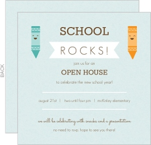 Blue And Orange Crayons Open House Invitation
