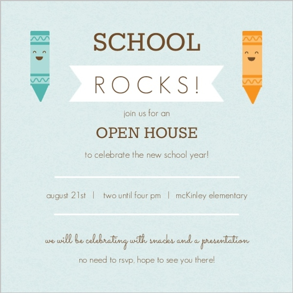 Blue And Orange Crayons Open House Invitation Back To School Party