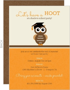 Lets Have A Hoot Owl Back To School Party Invitation