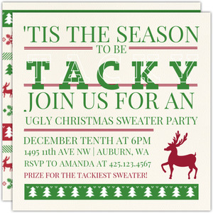 Ugly christmas sweater party invitations season to be tacky ugly sweater party invitation stopboris Choice Image