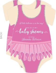 Cute Ballerina Pink Leotard Baby Shower Invitation