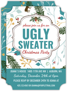 Pinecone Forest Ugly Sweater Party Invitation