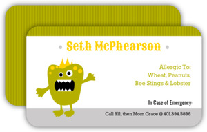 Green Monster Allergy Card