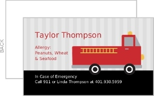 Red Firetruck Allergy Card