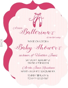 Pink Ballet Slippers Baby Shower Invitation