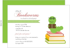 Bookworms Back To School Party Invitation