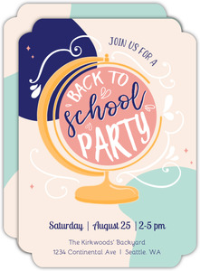 Colorful Globe Back To School Party Invitation