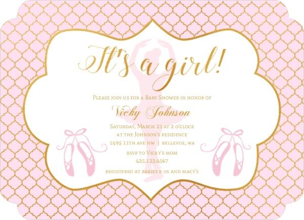 Its a girl ballerina baby shower invitation ballerina baby shower its a girl ballerina baby shower invitation filmwisefo