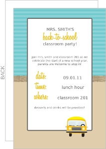 Teacher Yellow School Bus Back To School Invitation
