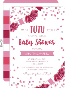 Tutu Confetti Banner Baby Shower Invitation